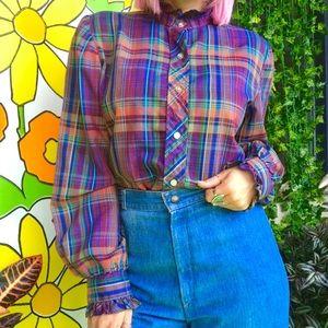 Vintage 70s rainbow striped plaid Victorian blouse